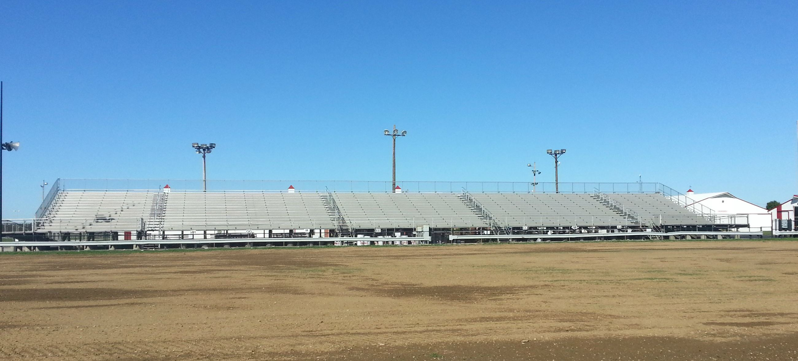 Empty grandstand at the Porter County Expo Center