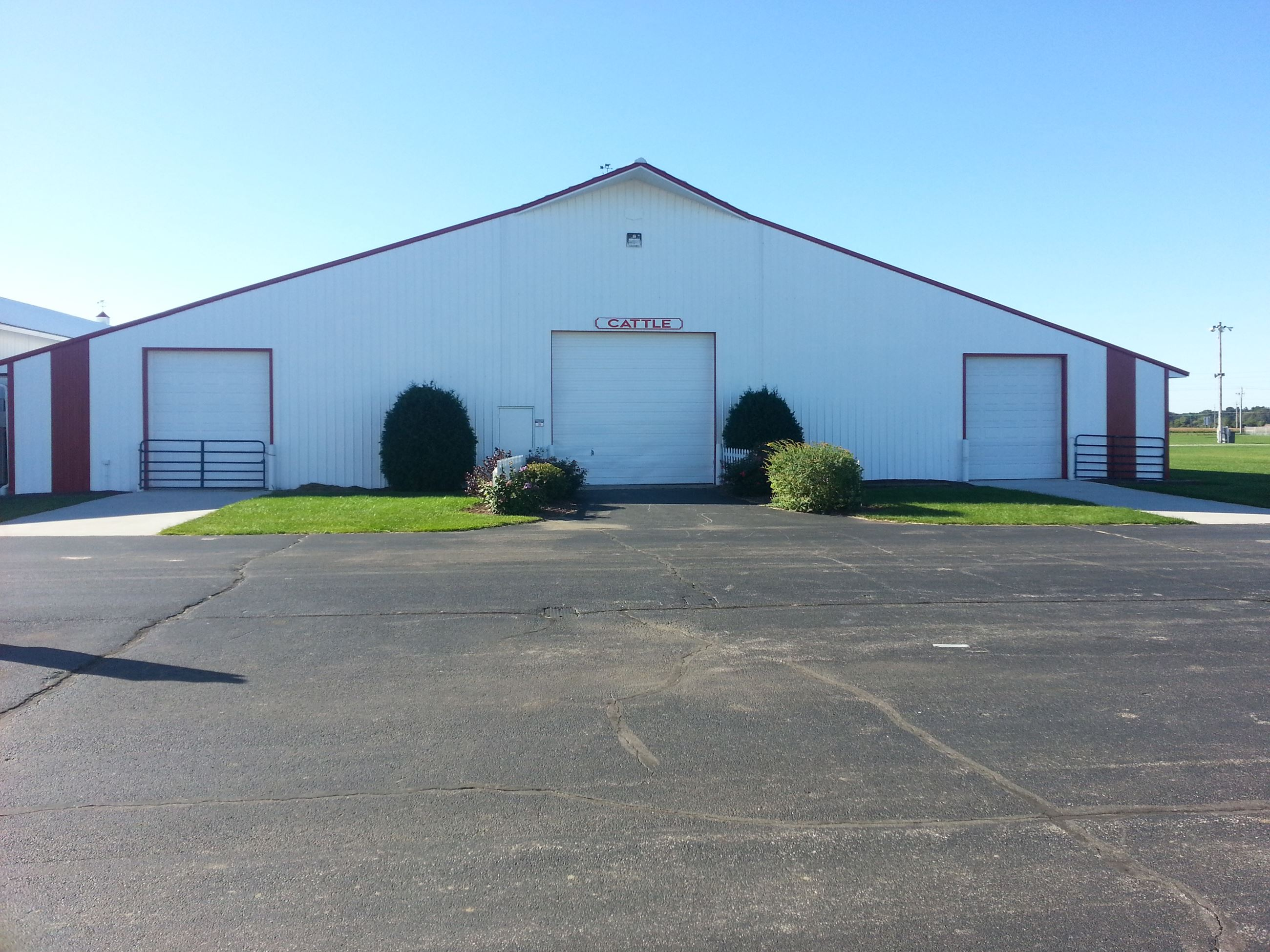 Front of cattle barn building at Porter County Expo Center