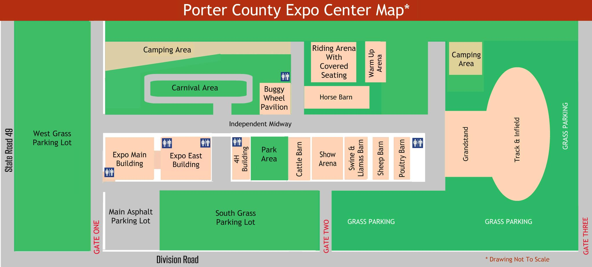 Map of the grounds of the Porter County Expo Center