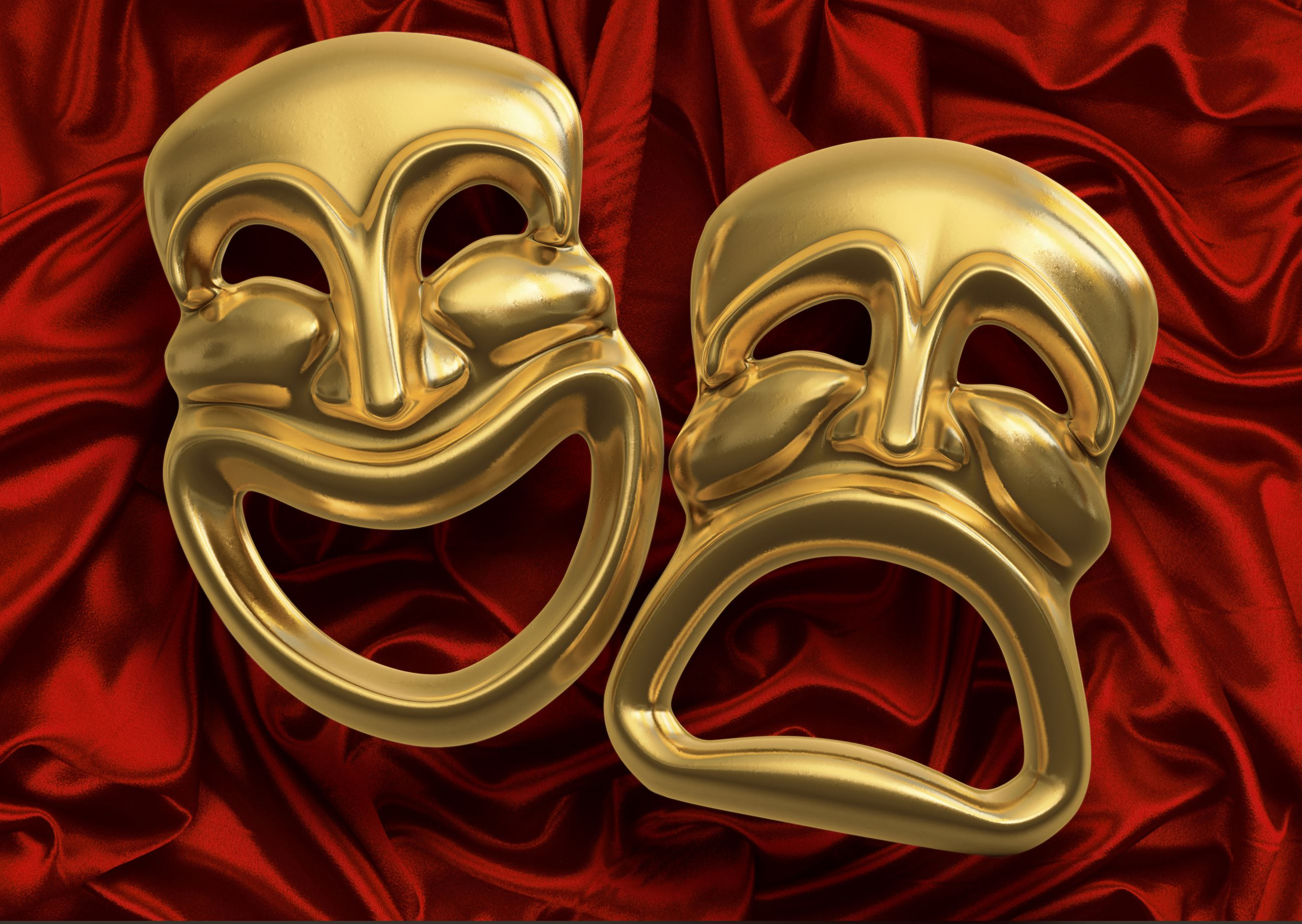 Classic Drama & Comedy Masks With Red Velvet Background